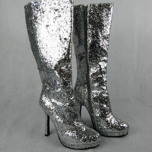 NEW Ellie 421-Silver glitter heeled Zara boots 6M